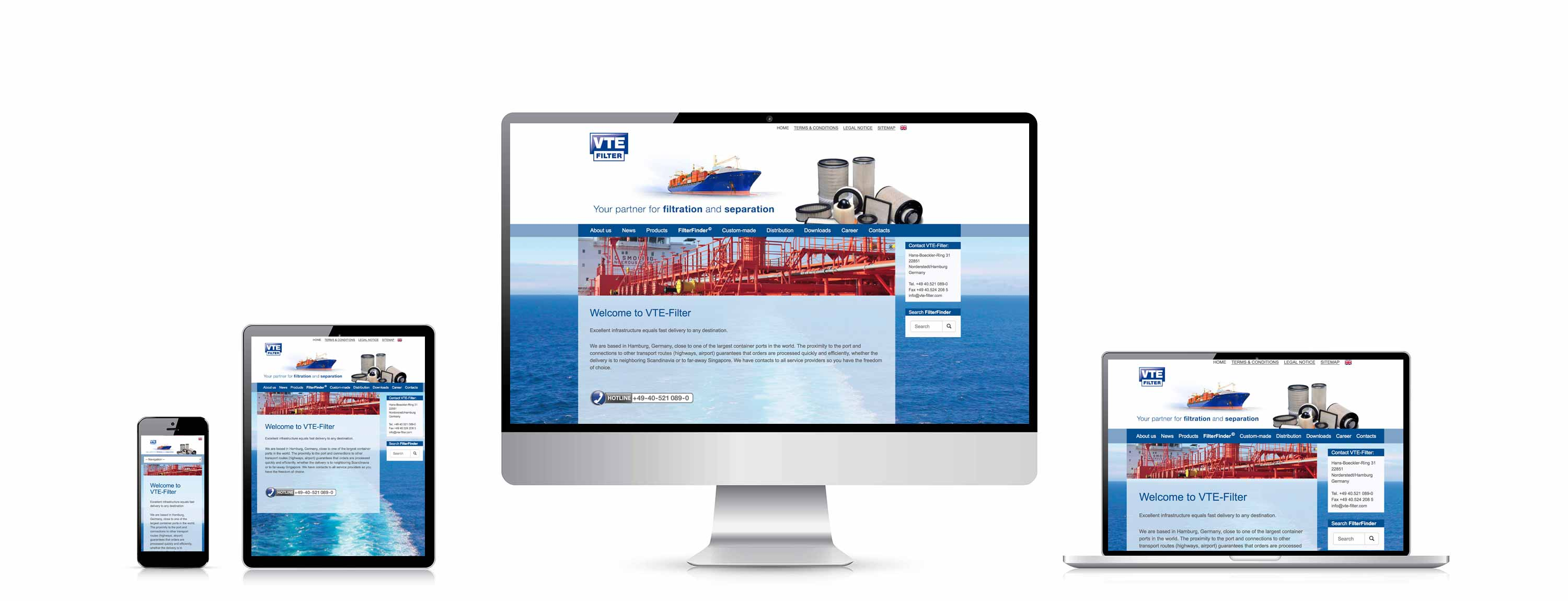 VTE-Filter GmbH Website, Responsive Design, Content Management System Contao